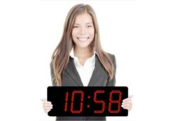"""Laser LED Clock with 5"""" Red Numerals - 20""""W"""