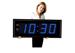 "Digital LED Clock with 8"" Blue Numerals - 40""W"