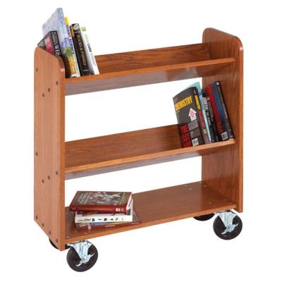 "Angled Three Shelf Mobile Book Cart - 47""H"