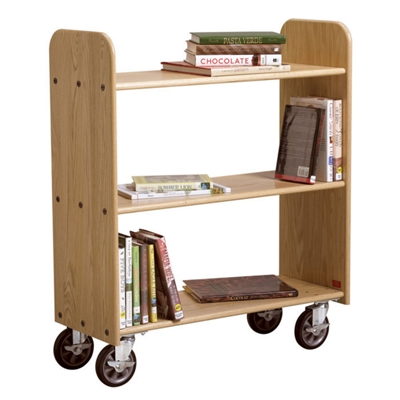 "Flat Three Shelf Mobile Book Cart - 37.5""H"