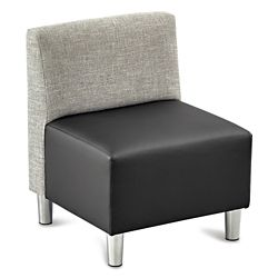 Riverside Armless Fabric Back Faux Leather Seat Chair