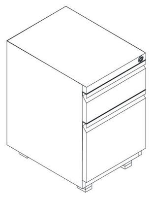 """Mobile Two Drawer Locking Pedestal - 15""""W"""