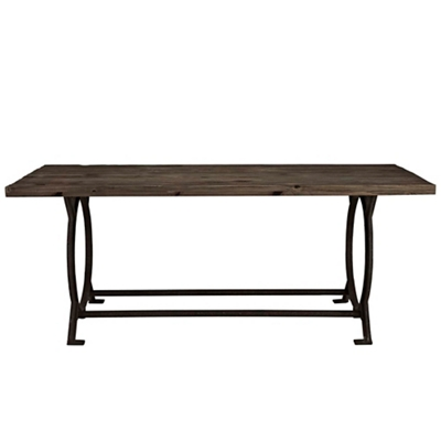 Wood Top Table with Cast Iron Base