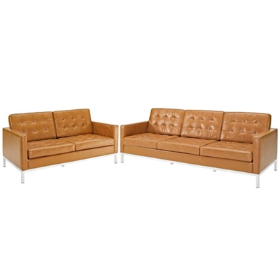 Loveseat and Sofa Leather 2 PC