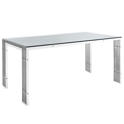 Stainless Steel Table with Glass Top