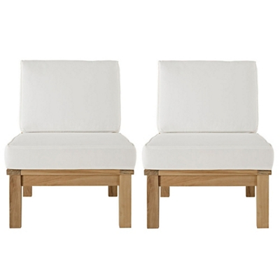 2 PC Outdoor Patio Teak Sofa S