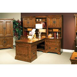 Peninsula Partner Desk with Storage Wall