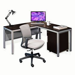 "Compact 60""W L-Desk & Chair"