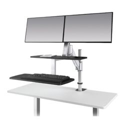Height Adjustable Double Monitor Station
