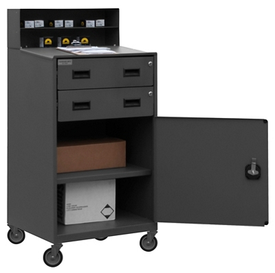 Mobile Standing Height Workstation with Locking Storage