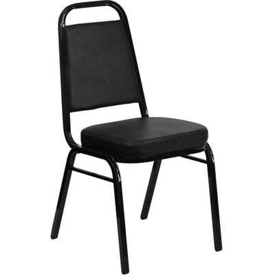 Black Vinyl Banquet Chair with Black Frame