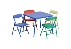 Child-Size Square Folding Table with Four Folding Chairs