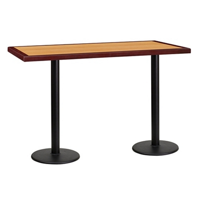 """Bar Height Table with Two Round Bases - 60""""W x 30""""D"""