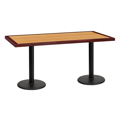 "Standard Height Table with Double Round Bases - 60""W x 30""D"