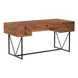 "Rustic Metal Base Desk - 63""W x 29""D"