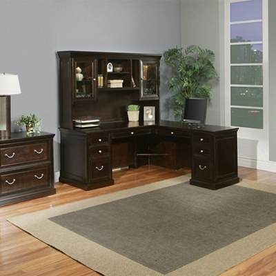 L-Desk with Hutch and Lateral File Set