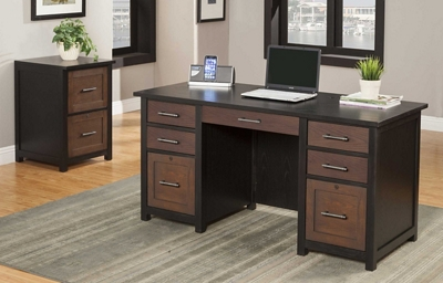 Double Pedestal Desk and File Set