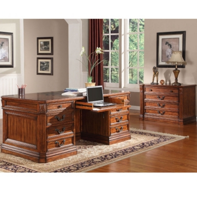 "Double Pedestal Executive Desk with Leather Top - 74""W"