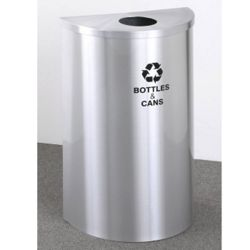 Half Round Satin Aluminum Bottles and Cans Recycling Bin