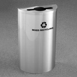 Half Round Satin Aluminum Mixed Recycling Bin
