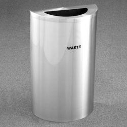 Half Round Satin Aluminum Waste Bin