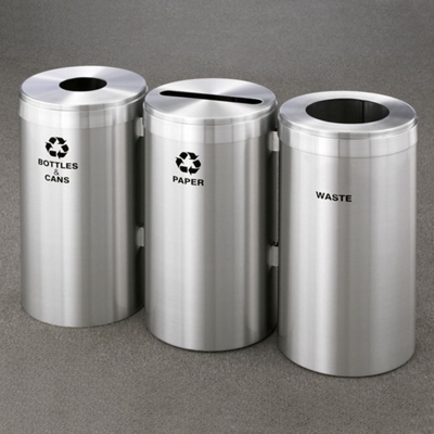 """20"""" Diameter Satin Aluminum Connected Recycling and Waste Bins"""