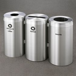 "20"" Diameter Satin Aluminum Connected Recycling and Waste Bins"