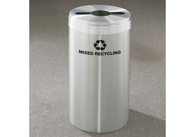 "Mixed Recycling Unit in Satin Aluminum Finish 12"" Diameter"