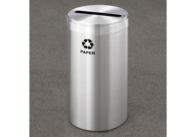 "Paper Recycling Unit in Satin Aluminum Finish 12"" Diameter"