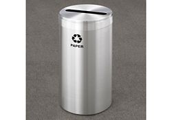 "Paper Recycling Unit in Satin Aluminum Finish 12"" Diameter"