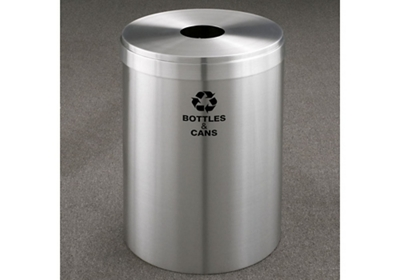 "Bottles and Cans Recycling Unit in Satin Aluminum Finish 12"" Diameter"
