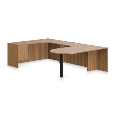 "Contemporary Left Peninsula U-Desk - 108""W x 71""D"