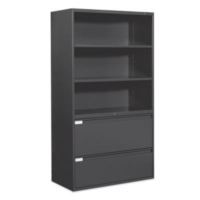"36""W 2 Drawer Lateral File with Storage Hutch"