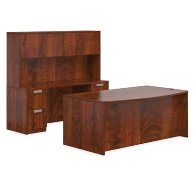 Executive Bowfront Desk Set with Credenza and Hutch