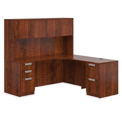 "Contemporary Right L-Desk with Hutch - 71""W"