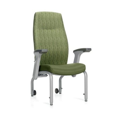 Flex Back Patient Chair with Rear Casters and Flip Arms