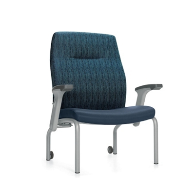 Bariatric Patient Chair with Rear Casters and Flip Arms