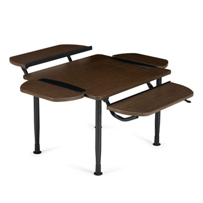 Table with Two Height Adjustable Tablet Surfaces and Two Removable Tablets
