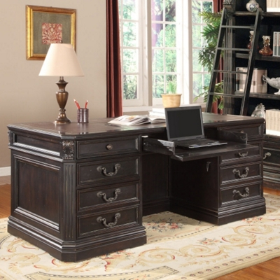 """Double Pedestal Executive Desk with Leather Top - 74""""W"""
