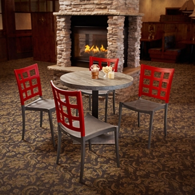 "Round Table with Square Base and Four Chairs - 30""DIA"