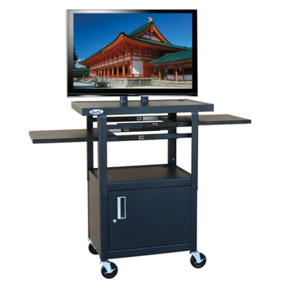 Adjustable Height Steel AV Cart with Pull Out Shelves and Cabinet