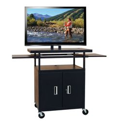 Adjustable Height Extra Wide AV Cart with Pull Out Shelves and Cabinet