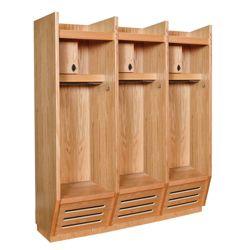 Open Front Wood Locker - 3 Wide