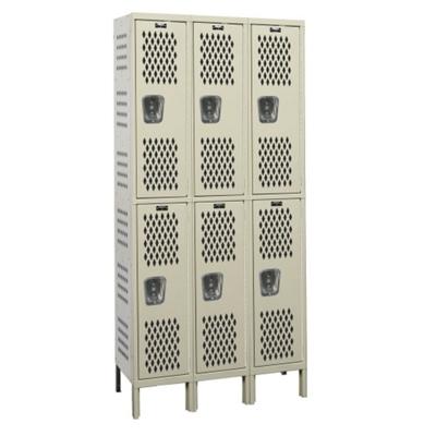 "Assembled 54""W x 18""D Two Tier Ventilated Locker"