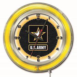 "Military Logo Neon Clock - 19"" Dia."