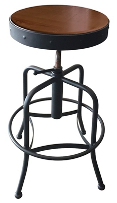 Adjustable Counter to Bar Height Industrial Stool with Black Frame