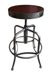 Adjustable Counter to Bar Height Industrial Stool with Clear Coat Frame