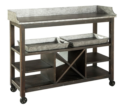"""Metal Console Serving Table with Wheels - 48""""W x 17""""D"""
