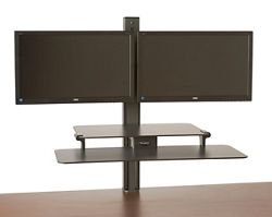 Rear-Mounted Dual Monitor Sit Stand Workstation