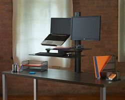 Rear-Mounted Laptop and Monitor Sit Stand Workstation